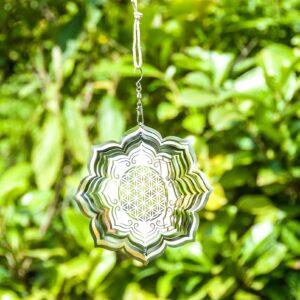 Berk, Blume des Lebens, Meditation, Wind- und Klangspiele Berk Blume des Lebens Lotus Mobile Ø 15 cm aus Edelstahl - EN-11-S - Meine Spiritualität.de