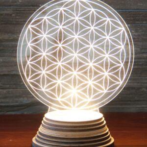 Berk, Blume des Lebens, Lampen, Meditation Berk Blume des Lebens Ambientelicht aus Acryl, mit Holzsockel - EN-137 - Meine Spiritualität