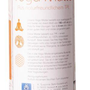 Körper und Seele, Yoga Berk Yoga-Matte TPE ecofriendly – orange/grau 6mm zweischichtig mit Blume des Lebens - YO-102 - Meine Spiritualität