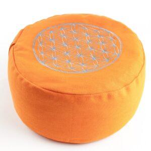 Körper und Seele, Meditationkissen Berk Blume des Lebens Meditationskissen Orange mit Buchweizen gefüllt 30 x 15 cm - YO-21-OR - Meine Spiritualität