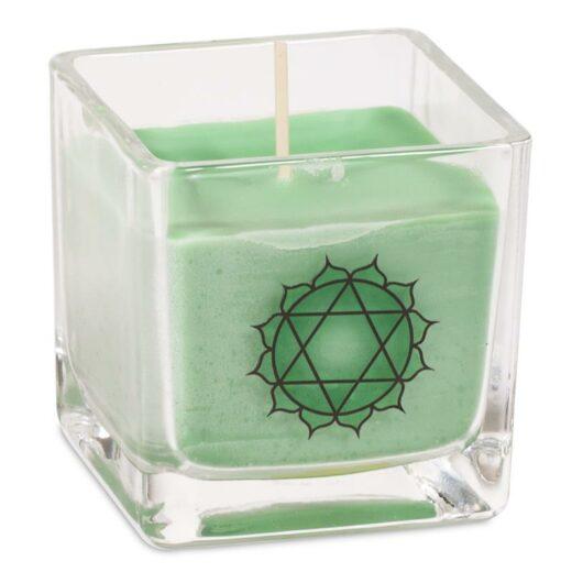 Duftprodukte, Kerzen + Kerzenhalter, Phoenix Ökologische Rapswachs-Duftkerze 4. Chakra Lavendel, grün - Meine Spiritualität