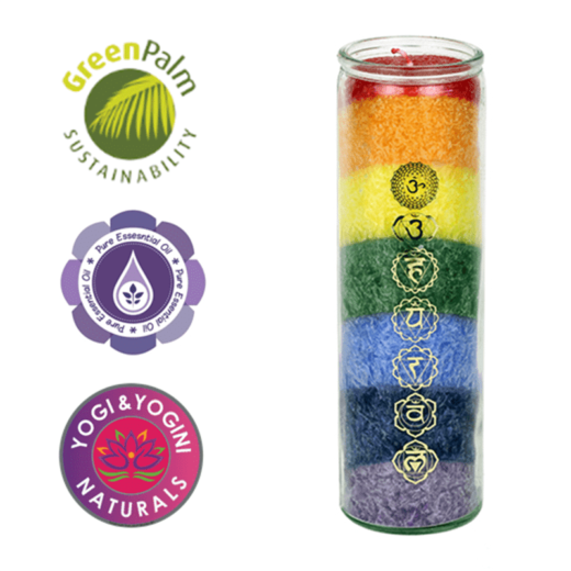 Duftprodukte, Kerzen + Kerzenhalter, Phoenix Duftkerze Stearin 7 Chakren Geissblatt, Zeder - Regenbogenfarben - Meine Spiritualität