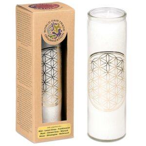 Blume des Lebens, Kerzen + Kerzenhalter, Phoenix Duftkerze Stearin Blume des Lebens, weiß Minze, Zitronengras, Weihrauch - Meine Spiritualität