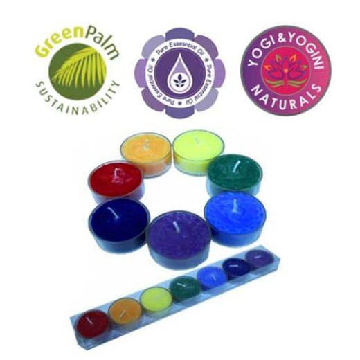 Duftprodukte, Geschenke, Kerzen + Kerzenhalter, Phoenix Geschenkset 7 Stück Chakra Duftteelichter bei meine Spiritualität.de
