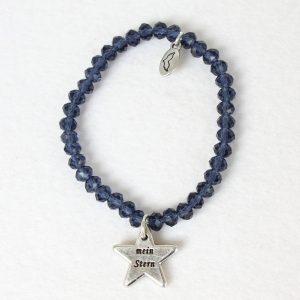 Armbänder, Schmuck Kristallglas-Armband – mein Stern – dunkelblau Nr. VII – Anhänger versilbert - Meine Spiritualität