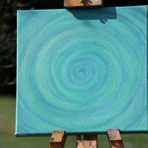 """Energie-Bild – Energie-Spirale """"Kraft und Harmonie"""" - grün/blau - Stativ Garten"""