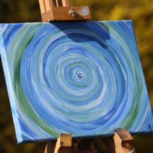 """Energie-Bild – Energie-Spirale """"Kraft und Harmonie"""" in den Farben blau-grün-weiß"""