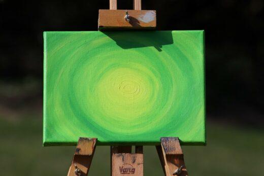 Energie-Bild – Energie-Spirale grün mit gelbem Zentrum