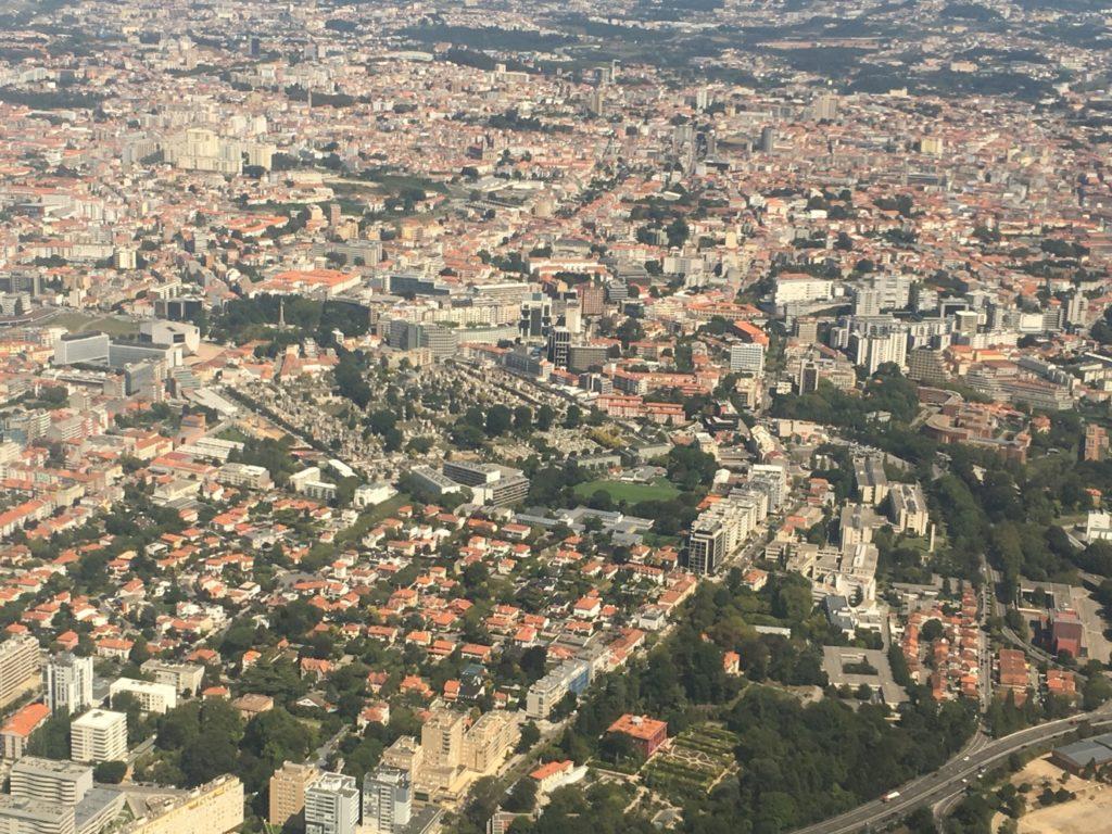 Jakobsweg - MeineSpiritualitaet.de - Porto und unser Hotel aus der Vogelperspektive