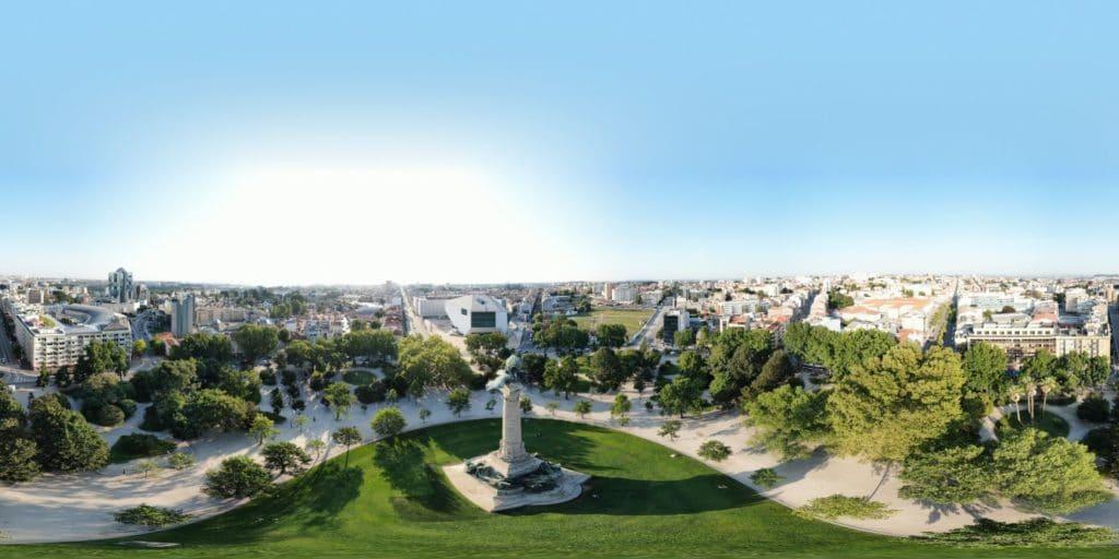 Das Denkmal Monumento aos Heróis da Guerra Peninsular in einem 360-Grad-Panorama