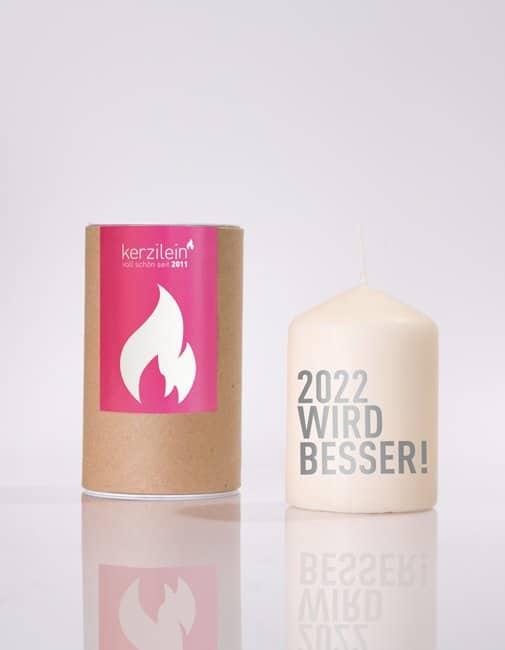 Meine-Spiritualitaet.de – Glückslicht –2022 wird besser – grau – Geschenk – Glücksbringer – Kerzilein – Kerze – Spruchkerze