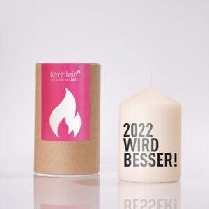Meine-Spiritualitaet.de – Glückslicht –2022 wird besser – schwarz – Geschenk – Glücksbringer – Kerzilein – Kerze – Spruchkerze - Flämmchen