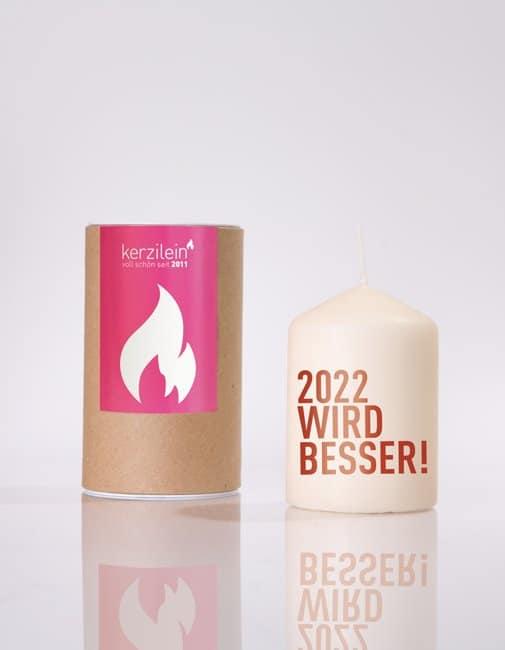 Meine-Spiritualitaet.de – Glückslicht –2022 wird besser – dunkelrot – rot – Geschenk – Glücksbringer – Kerzilein – Kerze – Spruchkerze - Flämmchen