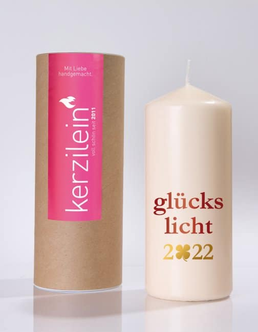 Meine-Spiritualitaet.de – Glückslicht – Glückslicht 2022 – pink – Geschenk – Glücksbringer – Kerzilein – Kerze – Spruchkerze