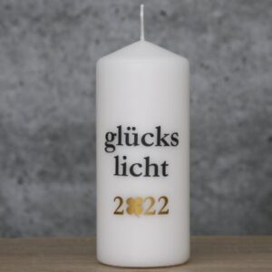 Meine-Spiritualitaet.de – Glückslicht – Glückslicht 2022 – weiß/anthrazit – weiß -anthrazit – Geschenk – Glücksbringer – Kerzilein – Kerze – Spruchkerze - Flamme
