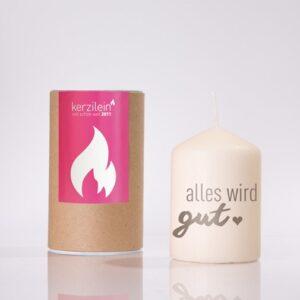 Kerzilein – Flämmchen – Kerze mit Spruch – Alles wird gut - grau – Meine-Spiritualitaet.de – Geschenk