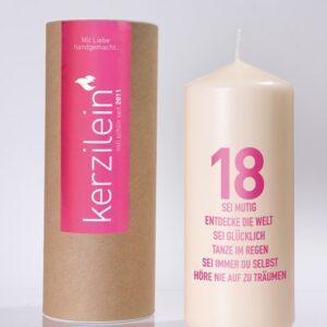 Kerzilein – Flamme – Stumpenkerze – 18 – 18 und Wünsche – Meine-Spiritualitaet.de – Geschenk – Kerzen zum Geburtstag – 18. Geburtstag - Pink